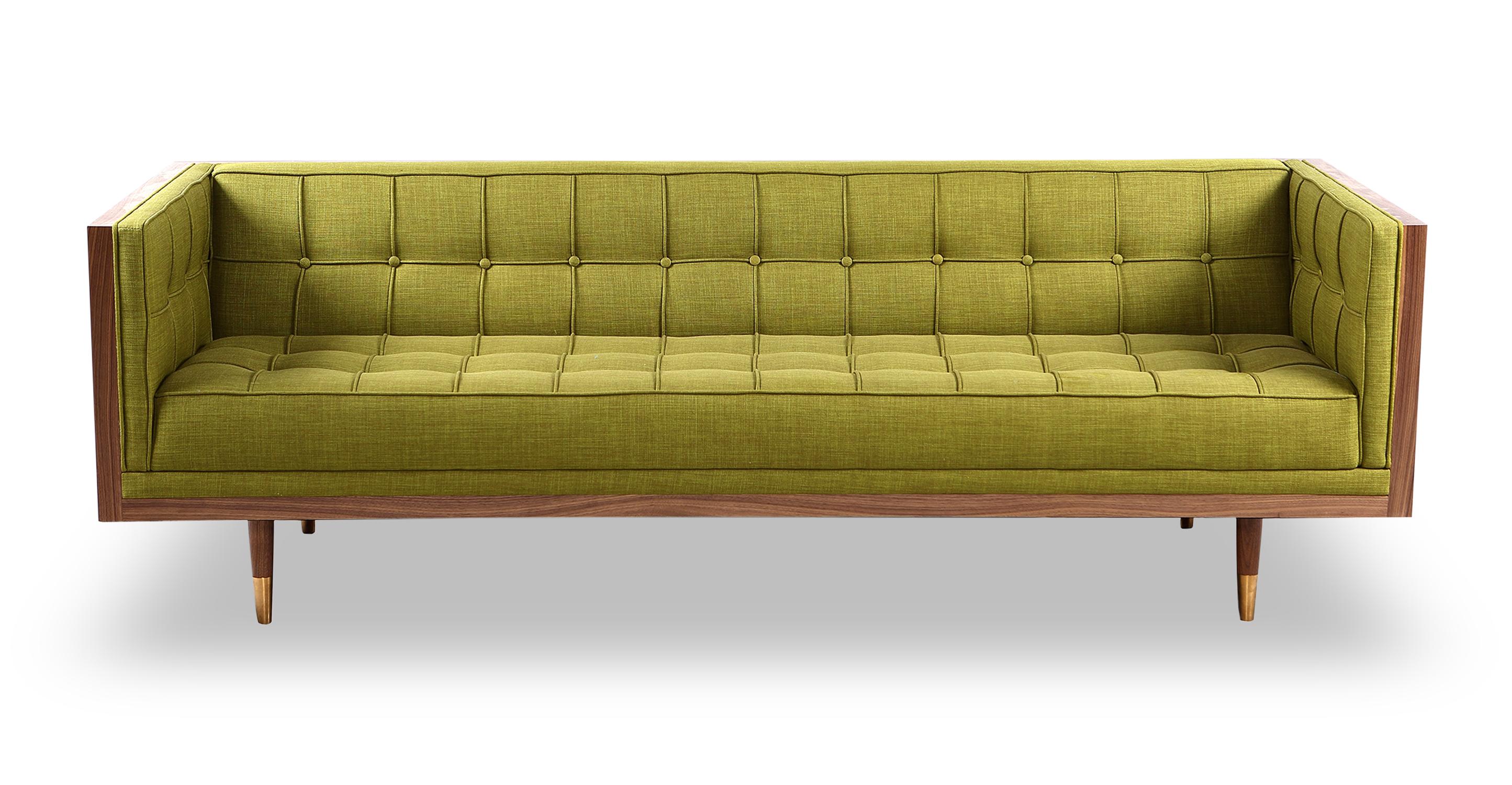 "Woodrow Box 87"" Fabric Sofa, Walnut/Atomic Moss"