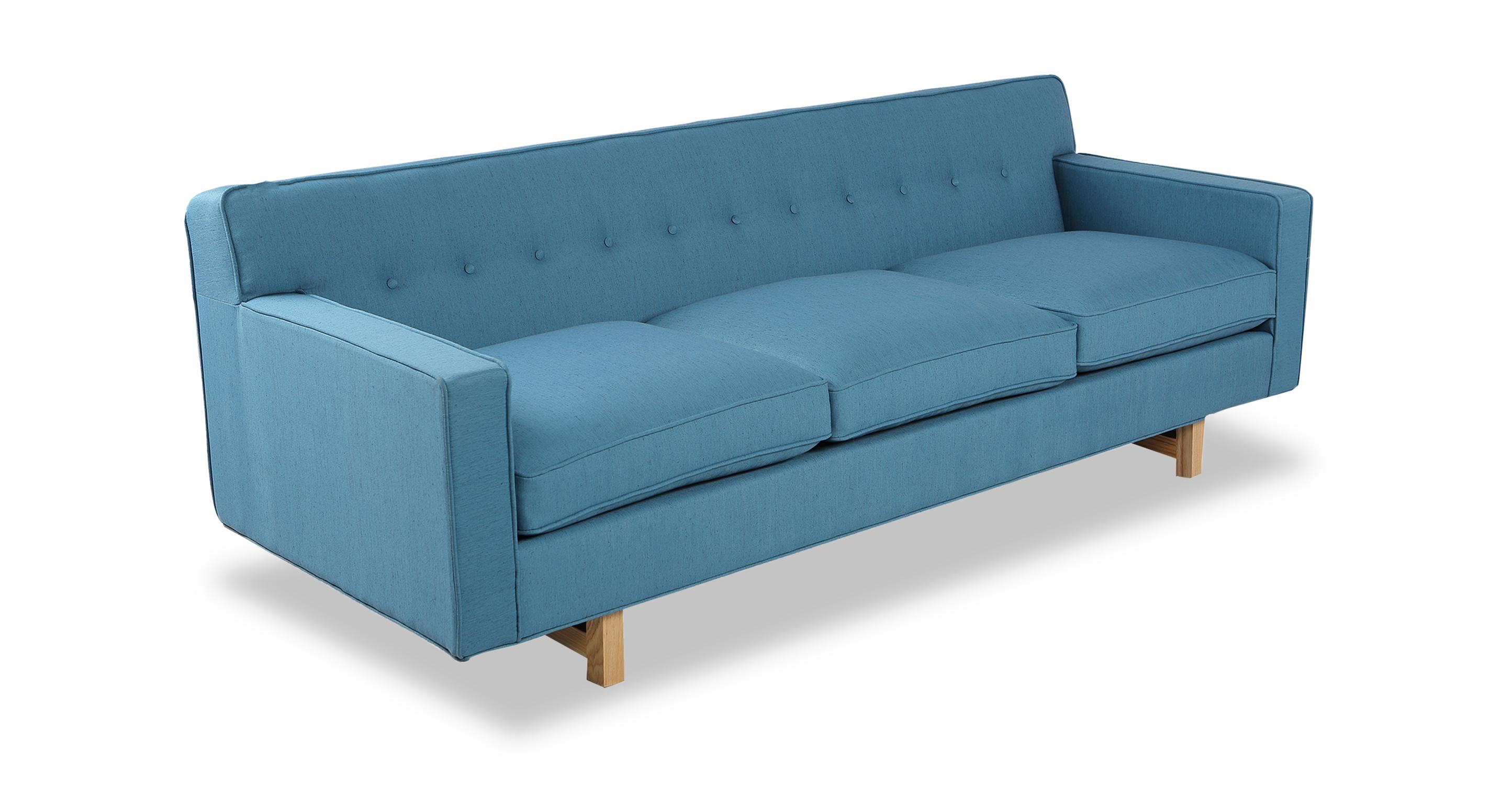 """Kennedy 86"""" Fabric Sofa, Ash/Urban Surf"""