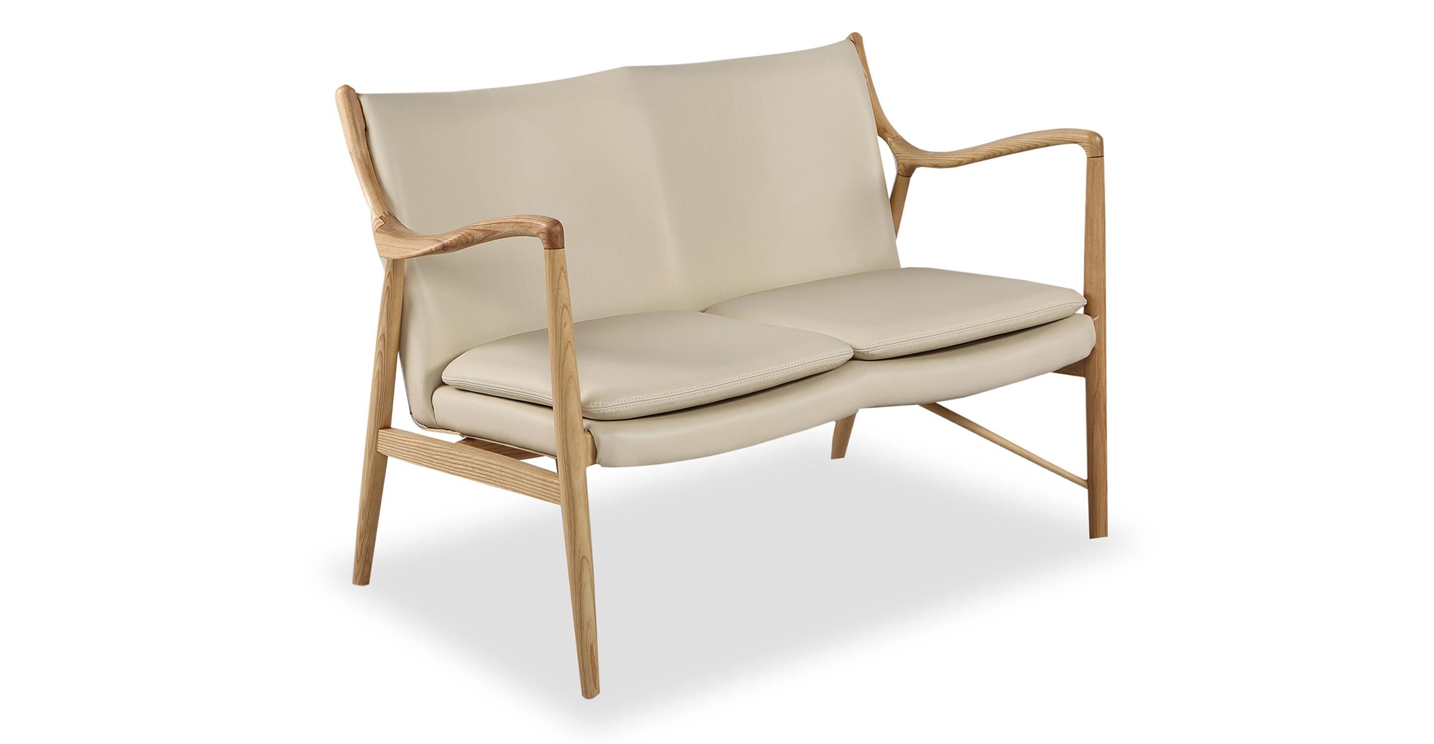 "Copenhagen 47"" Leather Sofa, Natural/Cream Italian"