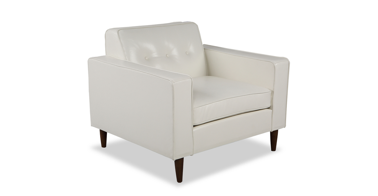 """Eleanor 36"""" Leather Chair, White Aniline"""