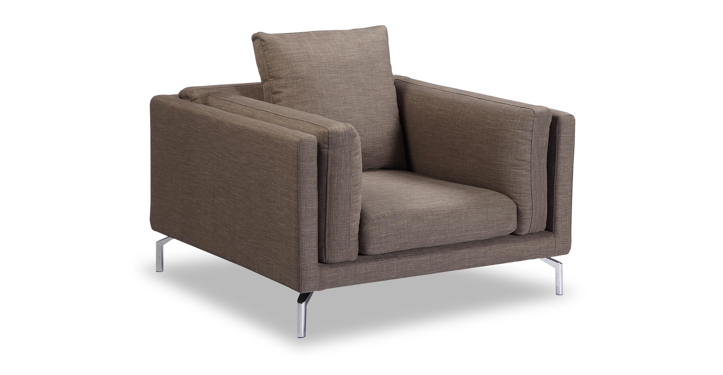 "Basil Loft 43"" Fabric Arm Chair, French Press"