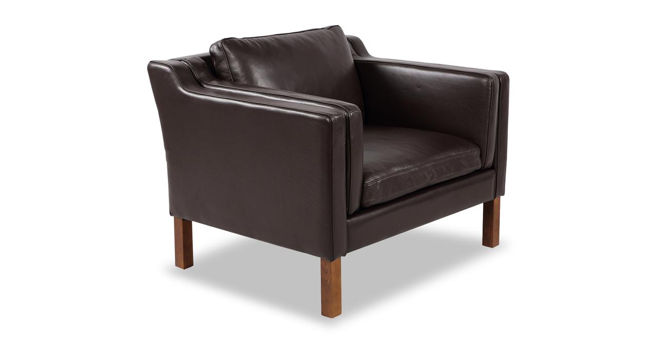 "Monroe 38"" Leather Chair, Brown Aniline"