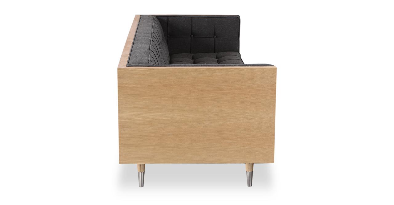 "Woodrow Box 87"" Fabric Sofa, Ash/Shale"