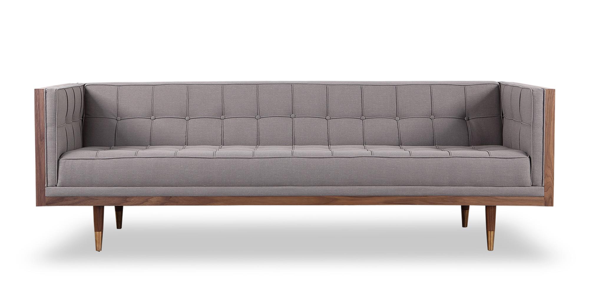 """Woodrow Box 87"""" Fabric Sofa, Walnut/Haze Pewter"""