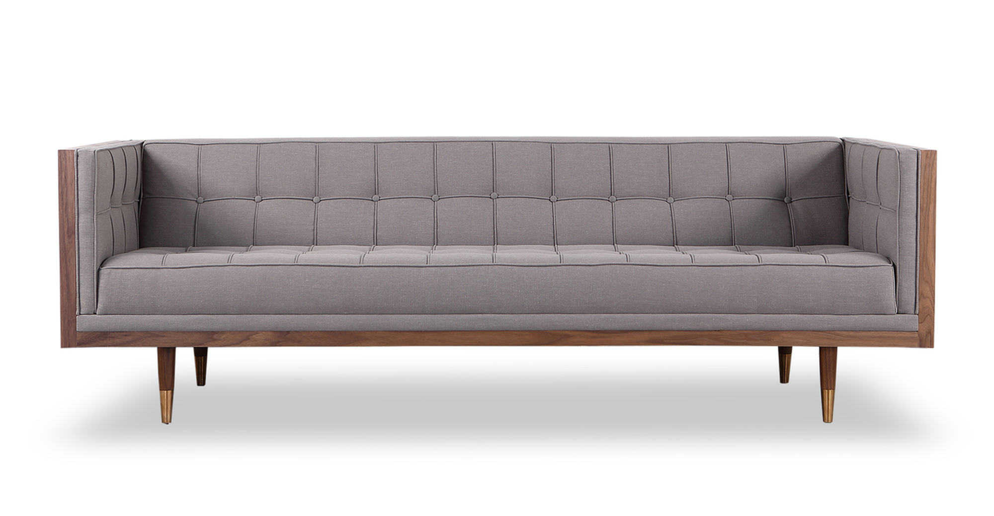 "Woodrow Box 87"" Fabric Sofa, Walnut/Haze Pewter"