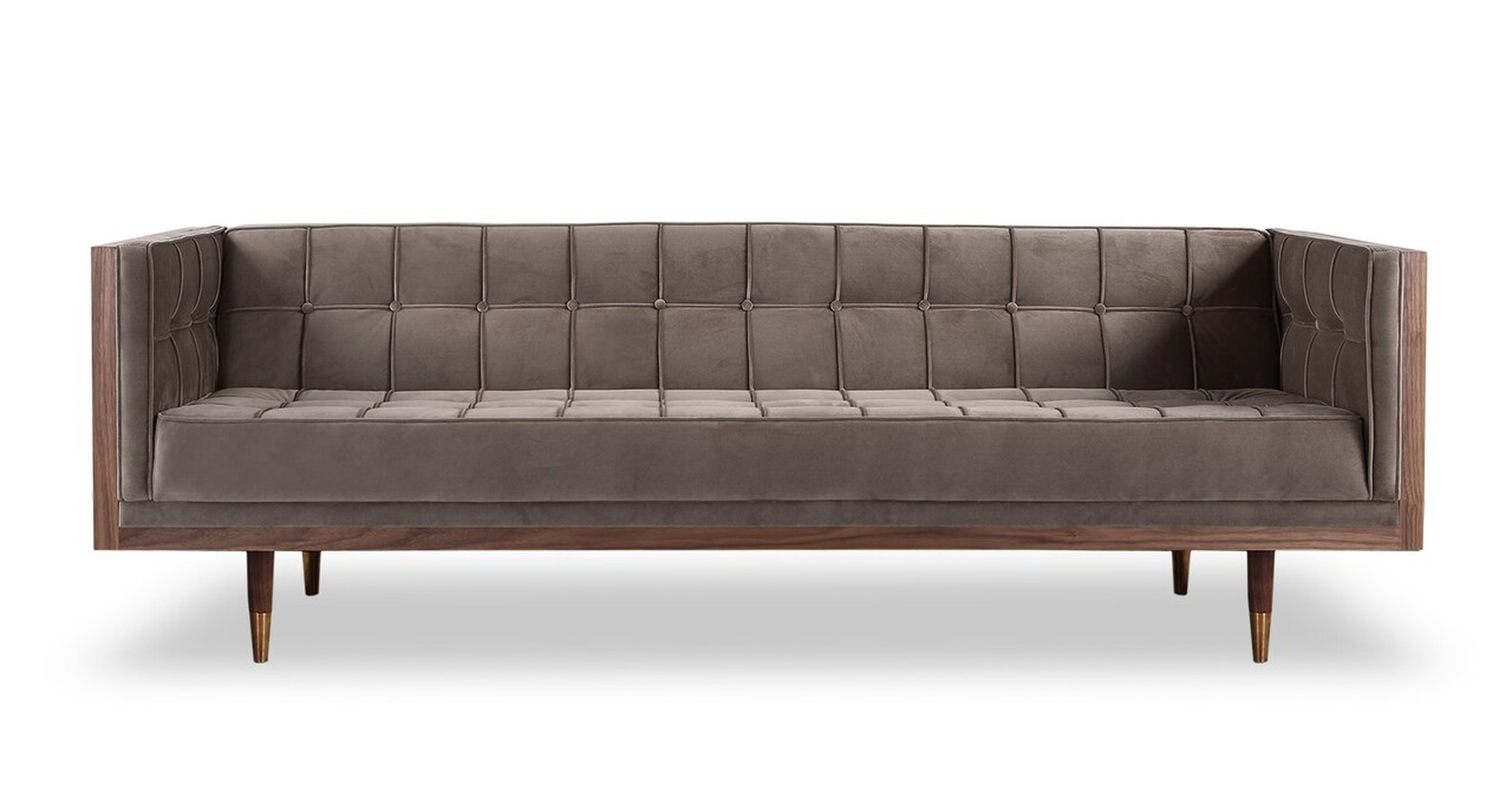 "Woodrow Box 87"" Fabric Sofa, Walnut/Mink Velvet"