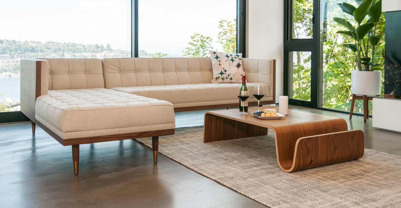 Woodrow Box Sofa Sectional Left, Walnut/Urban Hemp