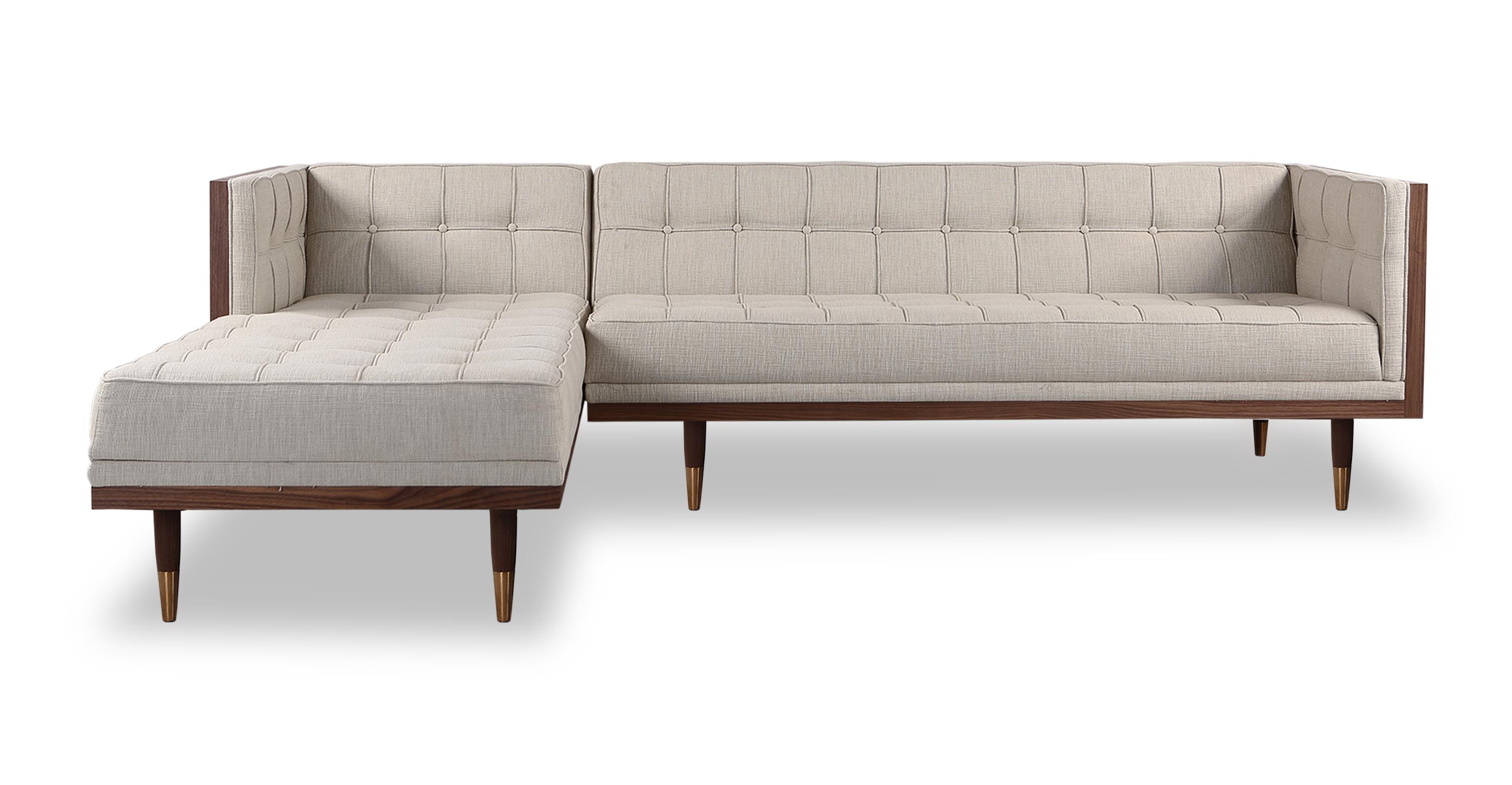 "Woodrow Box 100"" Fabric Sofa Sectional Left, Walnut/Urban Hemp"