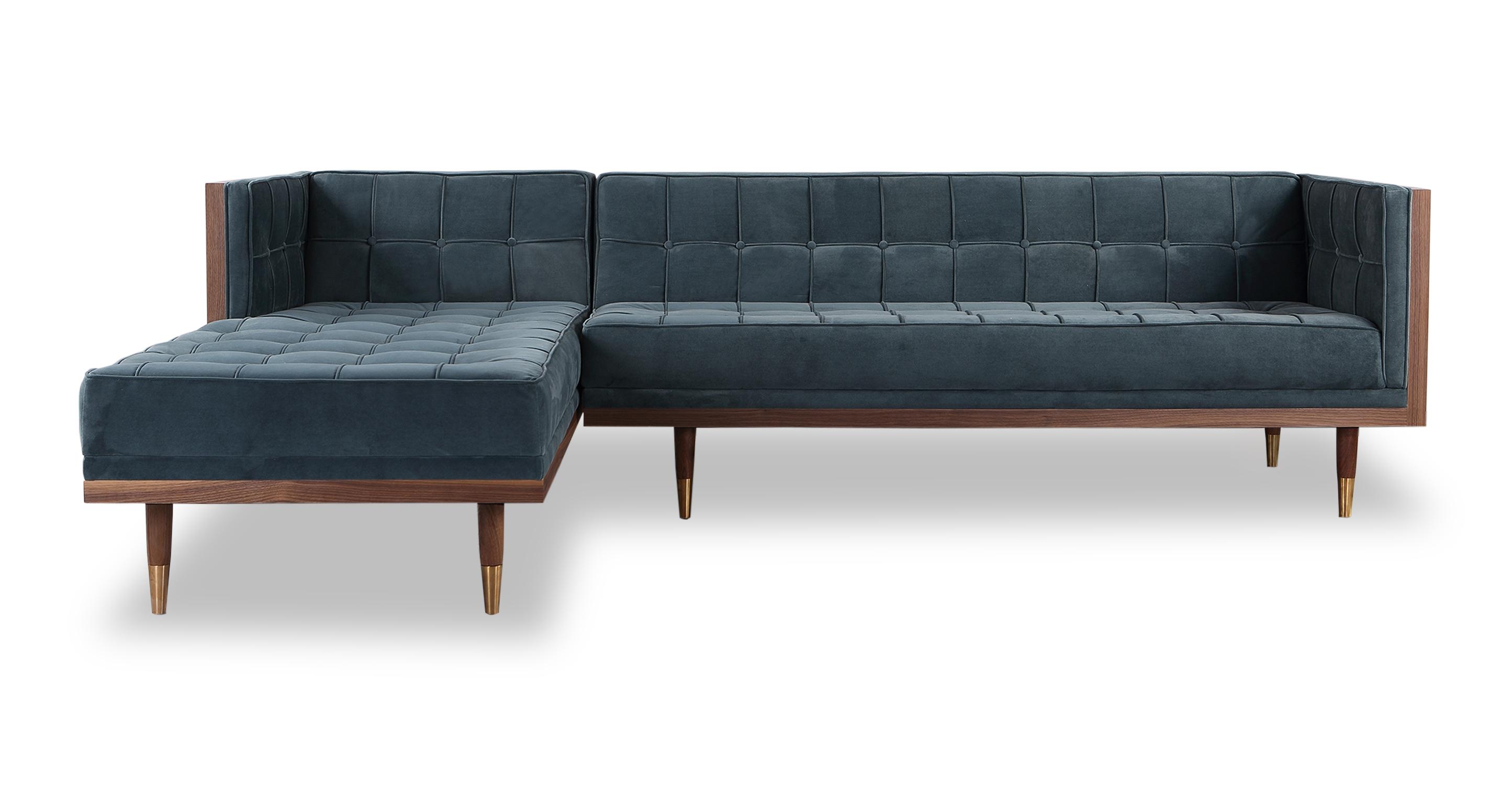 """Woodrow Box 100"""" Fabric Sofa Sectional Left, Walnut/Neptune Velvet"""
