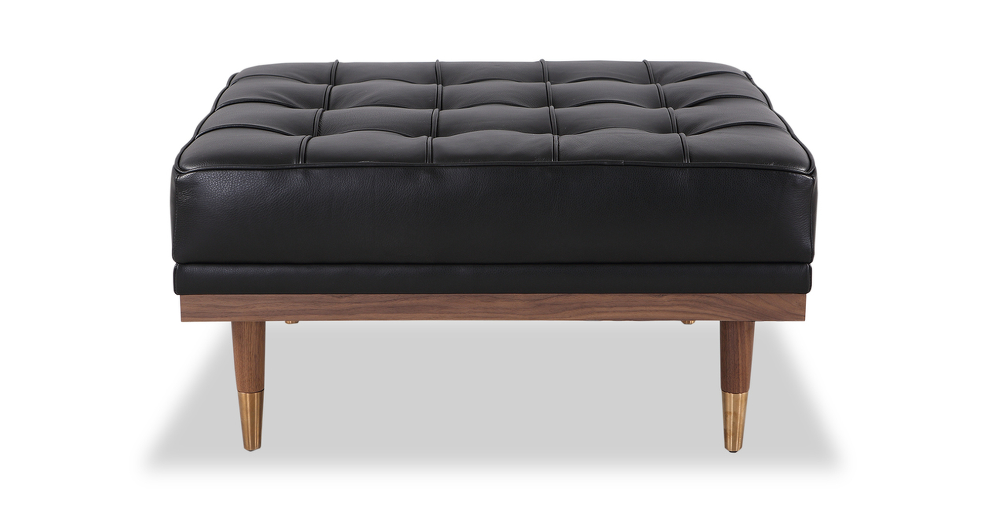 """Woodrow 33"""" Box Leather Ottoman, Walnut/Black Aniline"""