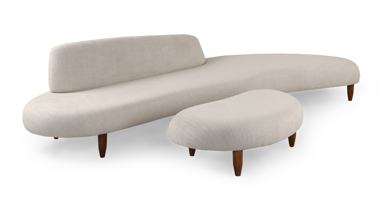 Kidney Bean Sofa & Ottoman, Urban Hemp