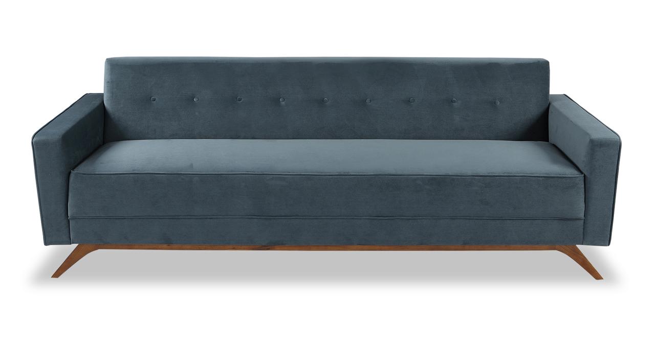 """Bauhaus 90"""" Modern Fabric Sofa, Neptune Velvet"""