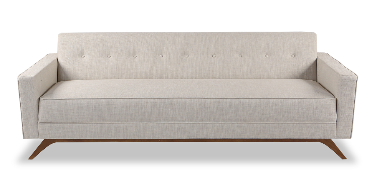 "Bauhaus  90"" Modern Fabric Sofa, Urban Hemp"