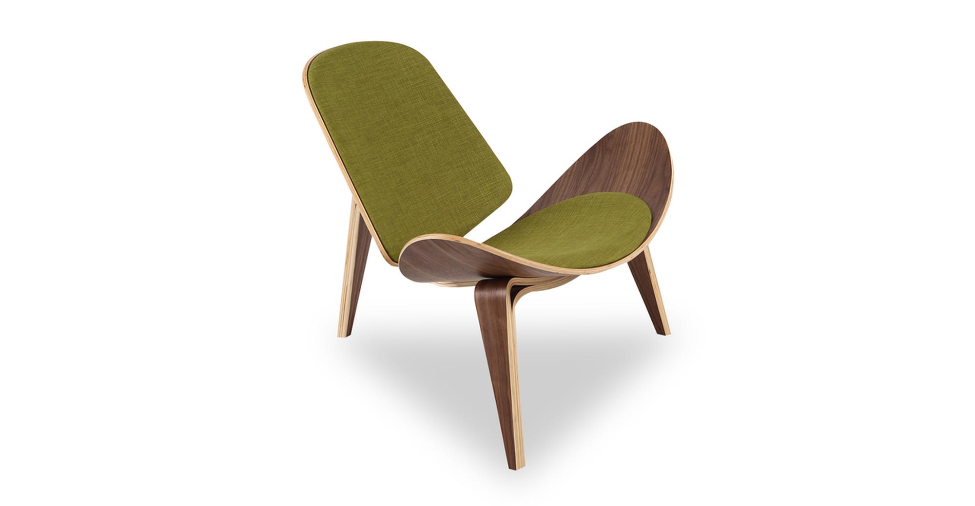 "Tripod 36"" Fabric Chair, Walnut/Atomic Moss"