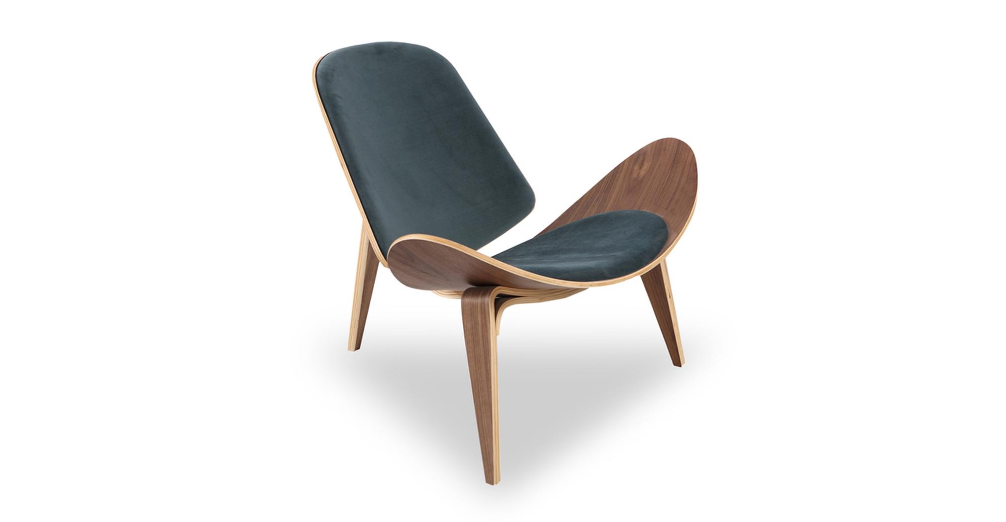 """Tripod 36"""" Fabric Chair, Walnut/Neptune Velvet"""