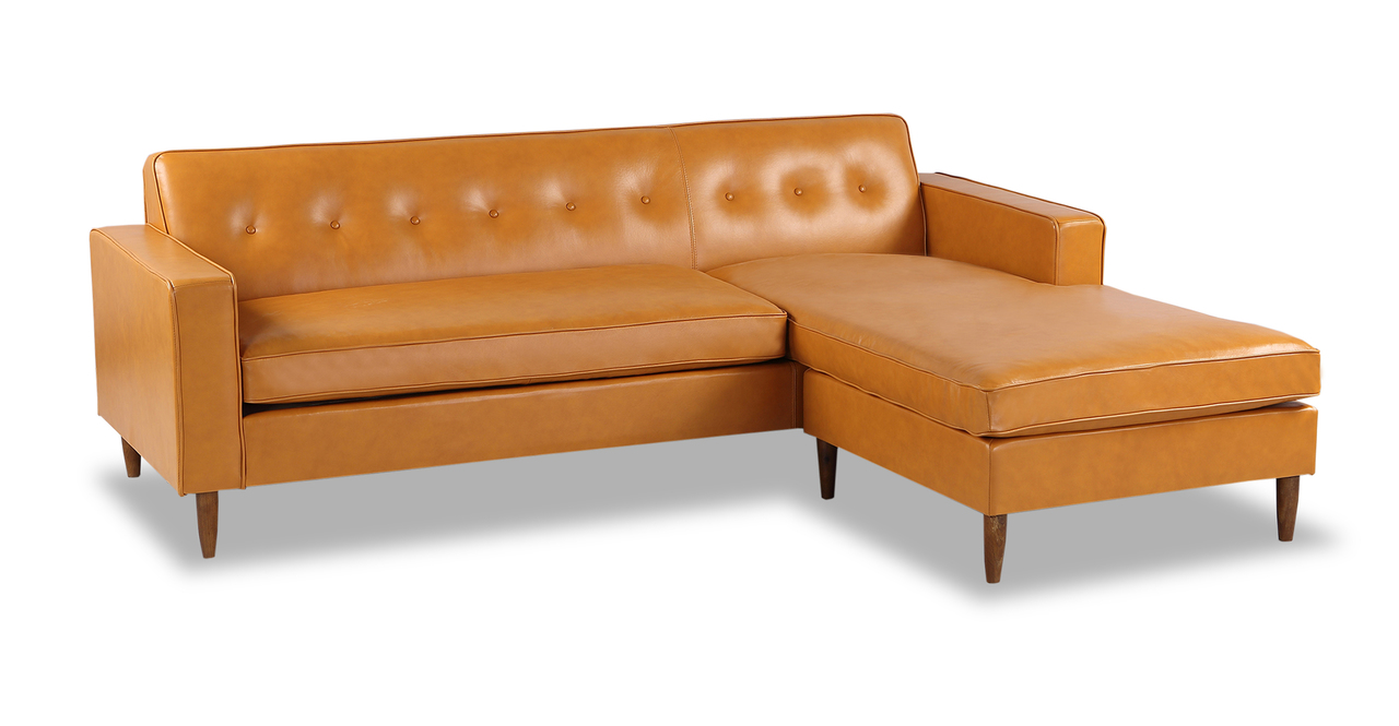 """Eleanor 87"""" Leather Sofa Sectional Right, Tan"""