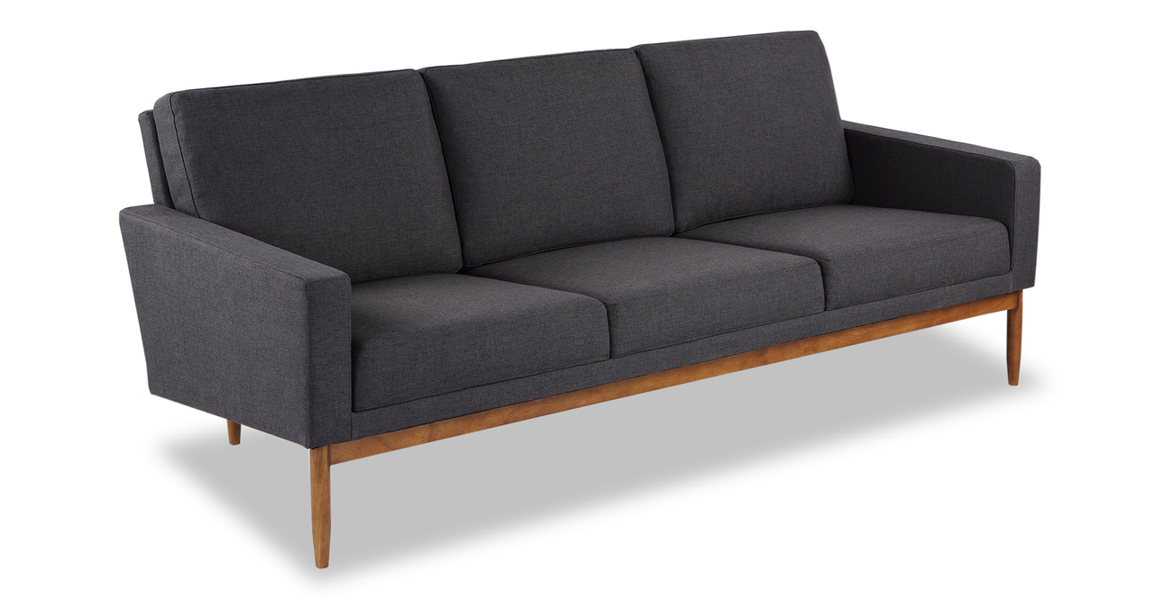 "Stilt Danish Mod 85"" Fabric Sofa, Urban Ink/Walnut"