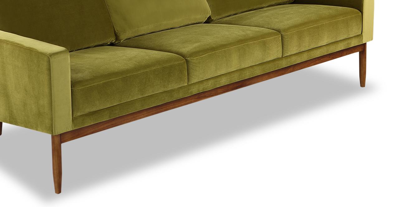 "Stilt Danish Mod 85"" Fabric Sofa, Olive/Walnut"