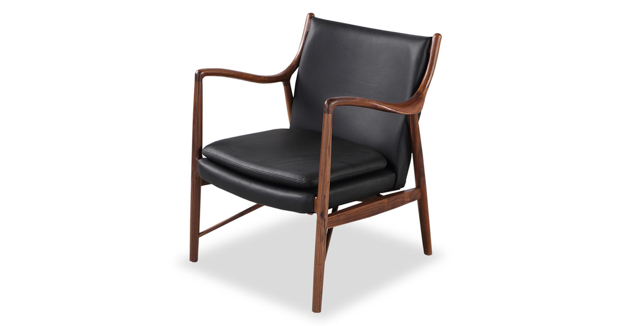 "Copenhagen 26"" Leather Armchair, Walnut/Black Italian"