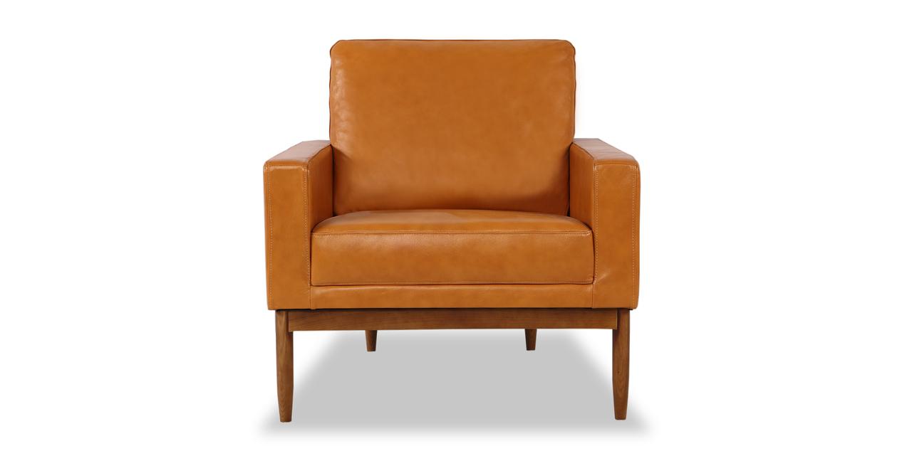 Stilt Danish Mod Chair, Tan Aniline Leather/Walnut