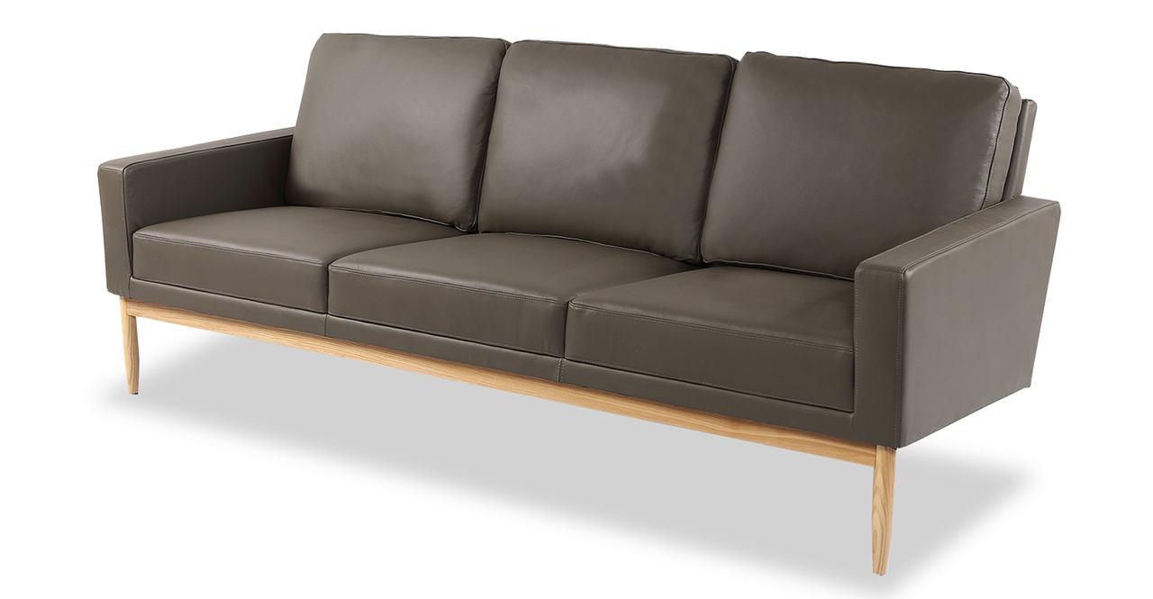 "Stilt Danish Mod 85"" Leather Sofa, Grey Aniline/Ash"