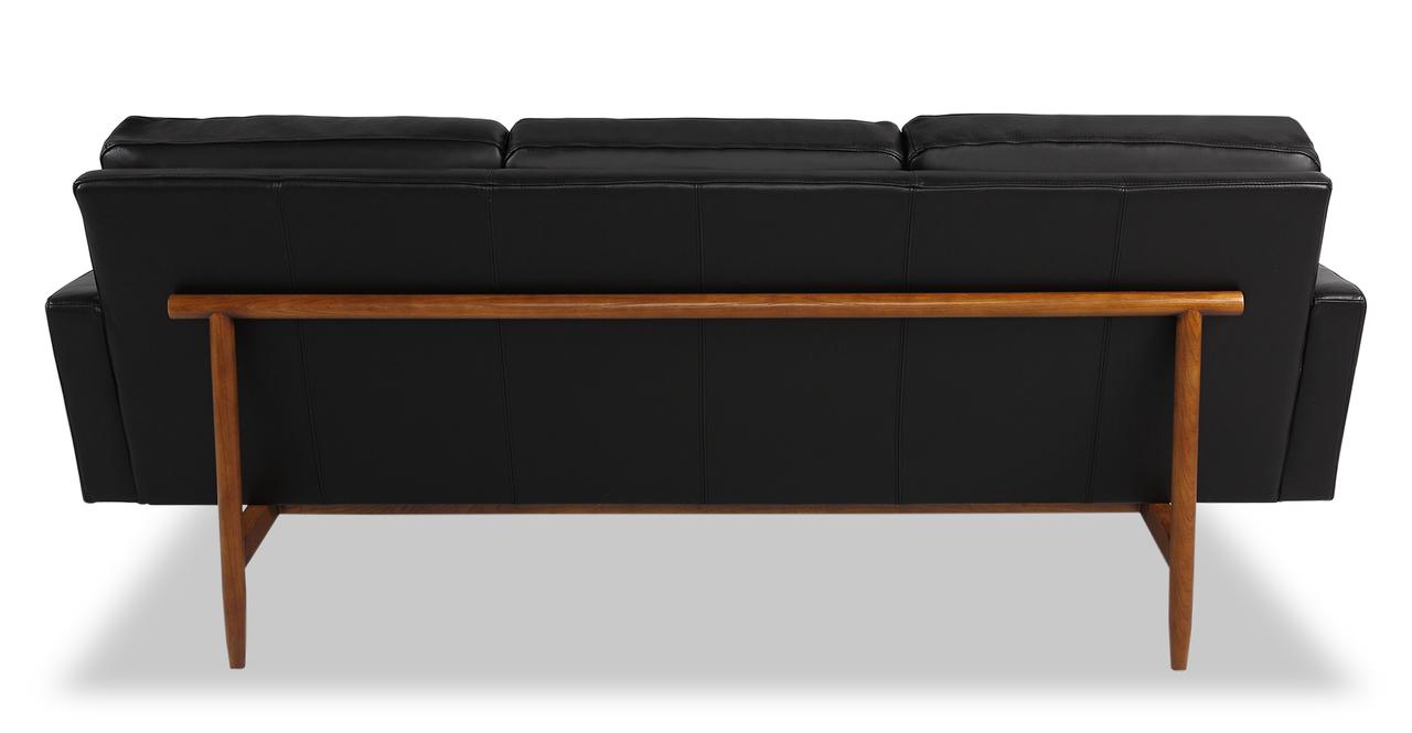 "Stilt Danish Mod 85"" Leather Sofa, Black Aniline/Walnut"