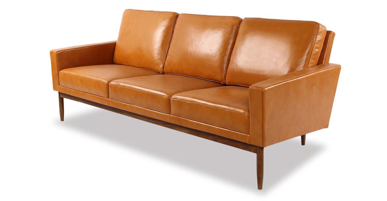 "Stilt Danish Mod 85"" Leather Sofa, Tan Aniline/Walnut"