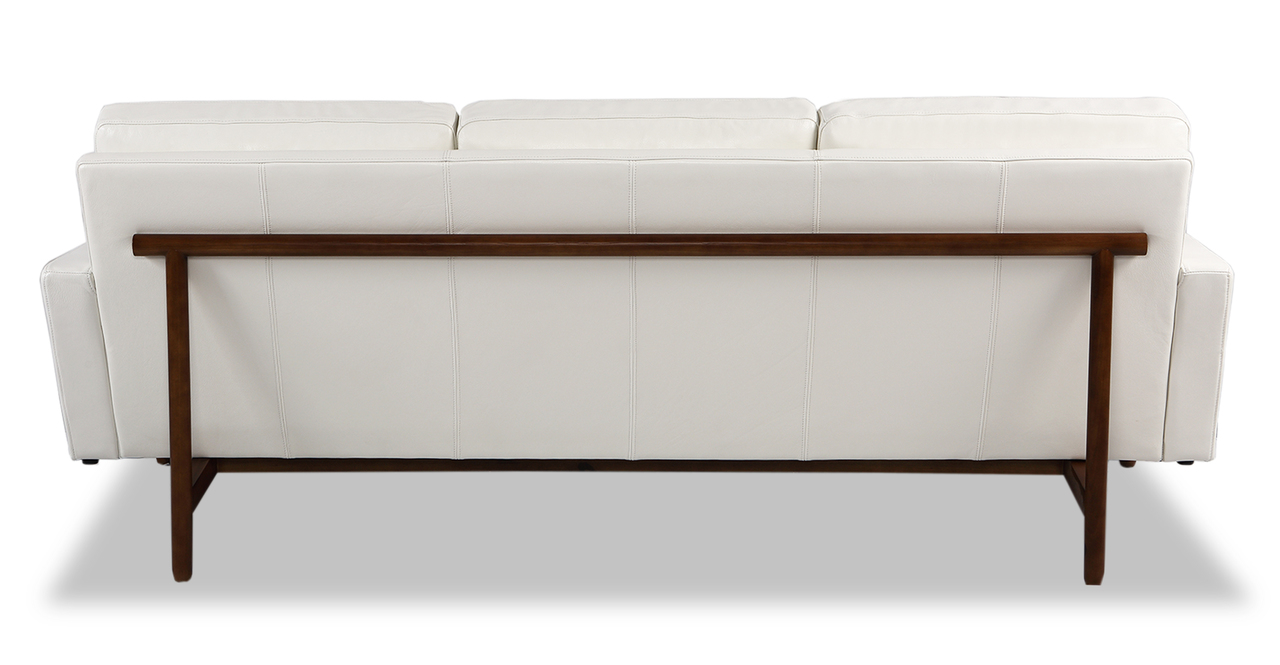 "Stilt Danish Mod 85"" Leather Sofa, White Aniline/Walnut"