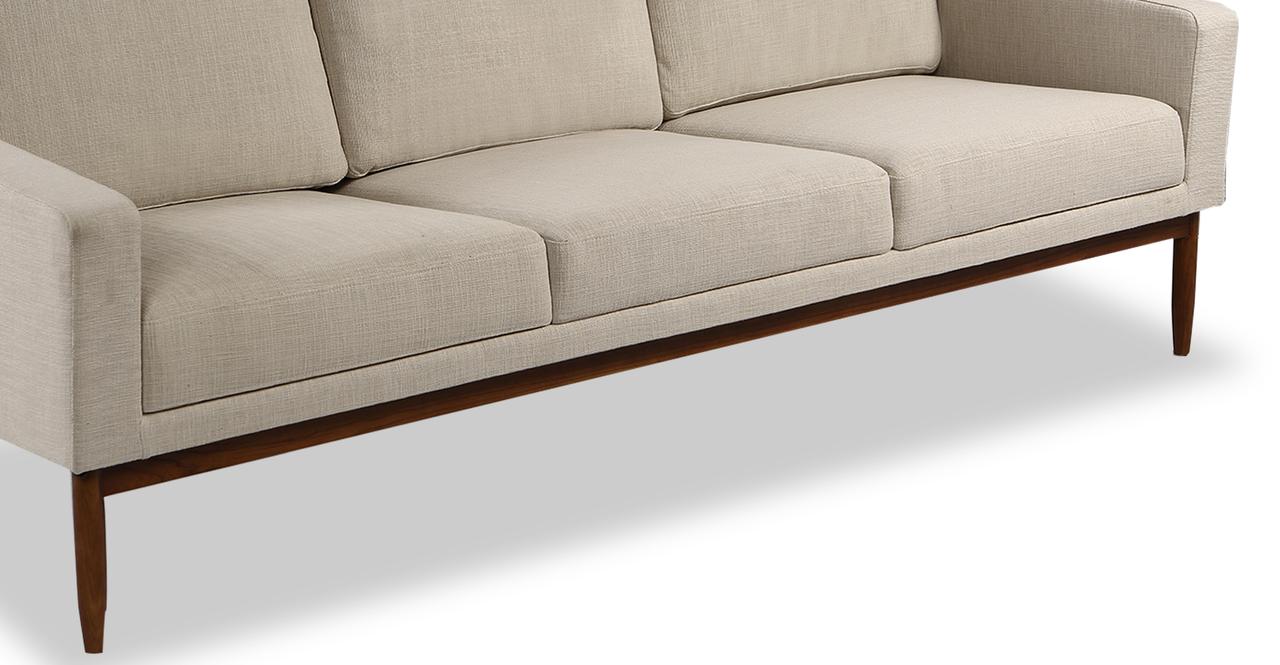 "Stilt Danish Mod 85"" Fabric Sofa, Urban Hemp/Walnut"