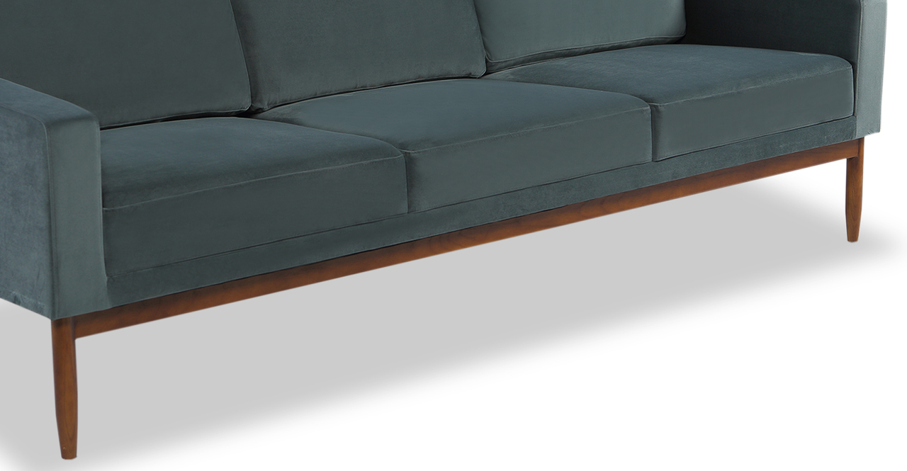 "Stilt Danish Mod 85"" Fabric Sofa, Neptune/Walnut"