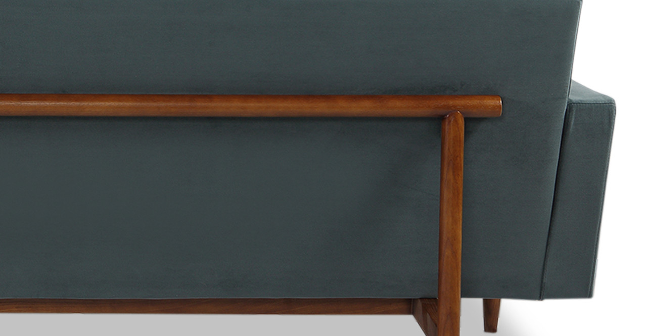"Stilt Danish Mod 85"" Fabric Sofa, Neptune/Walnut"