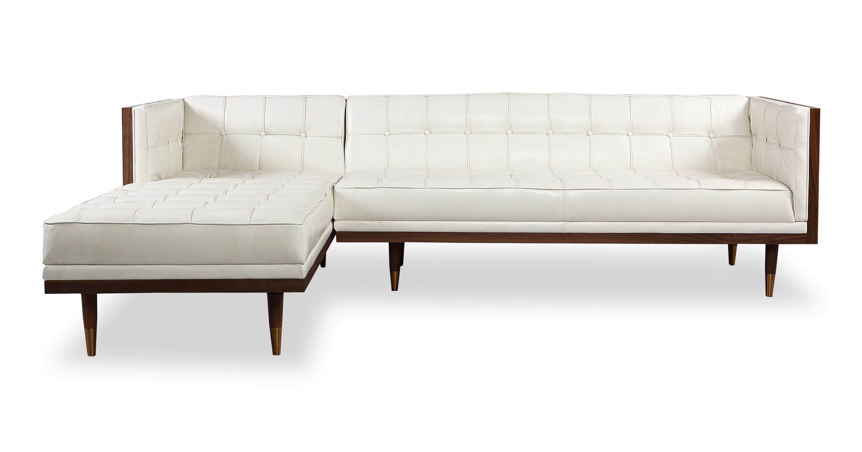 "Woodrow Box 100"" Leather Sofa Sectional Left, Walnut/White Aniline"