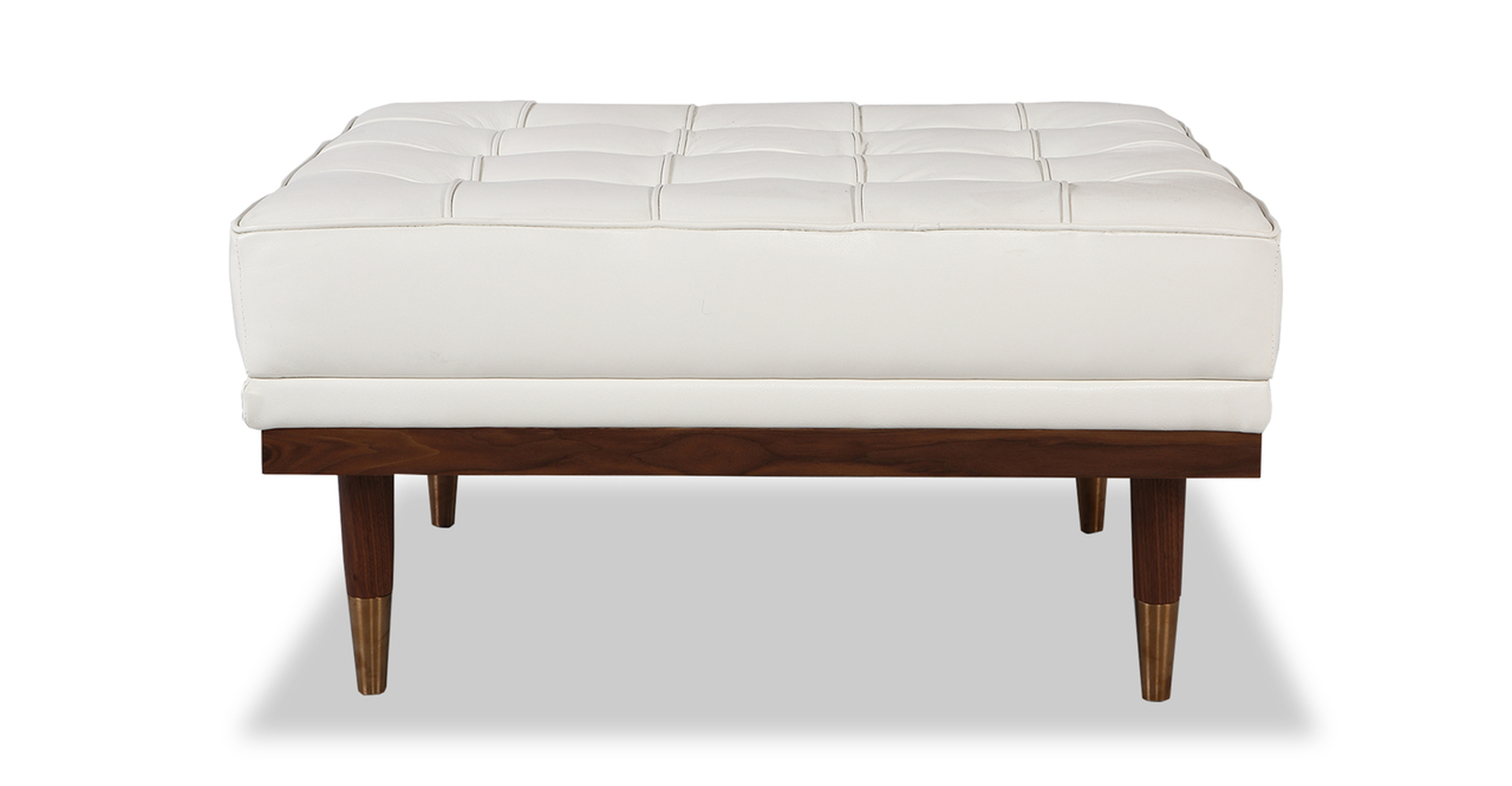 "Woodrow 33"" Box Leather Ottoman, Walnut/White Aniline"