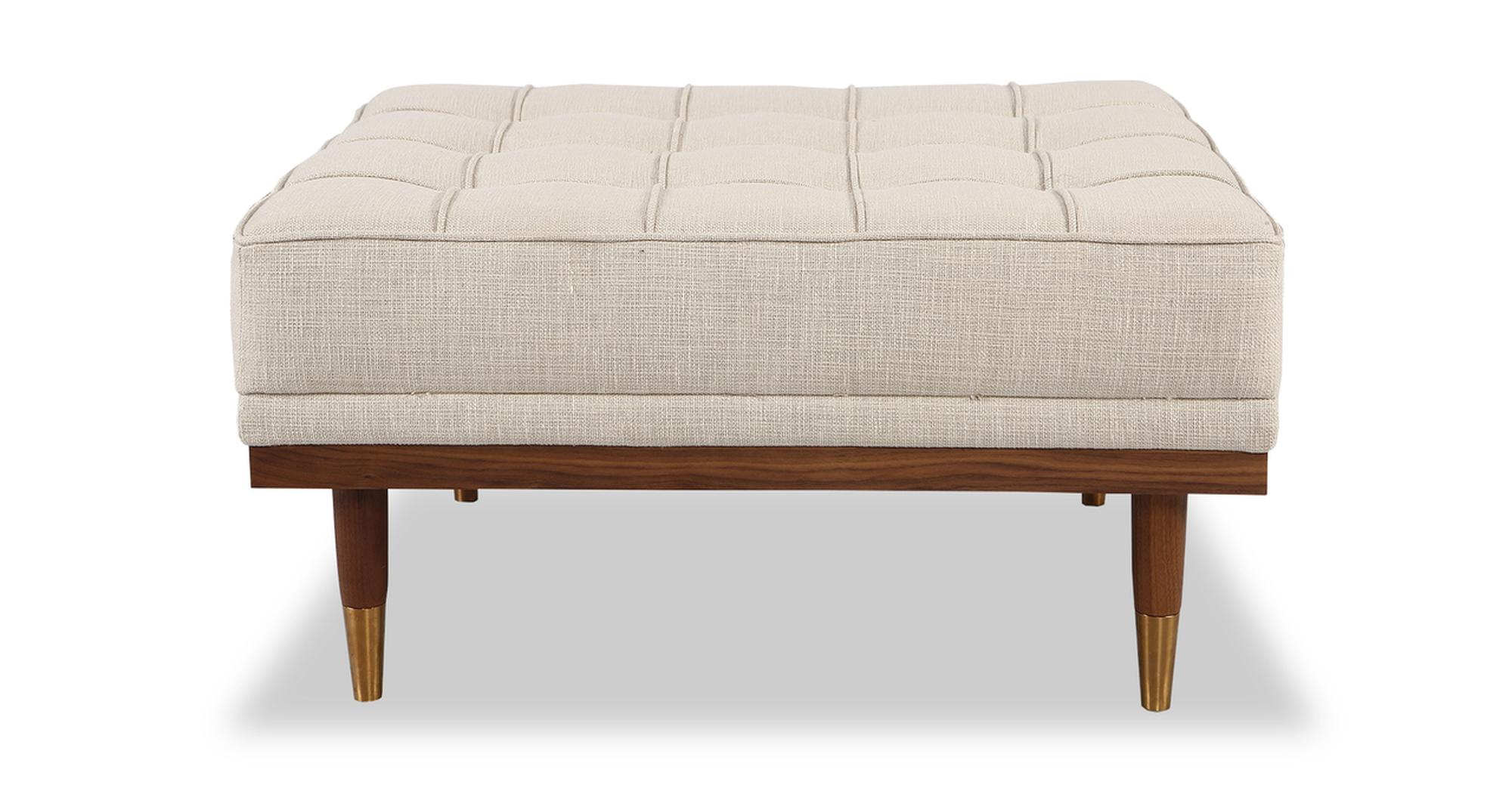 "Woodrow 33"" Box Fabric Ottoman, Walnut/Urban Hemp"