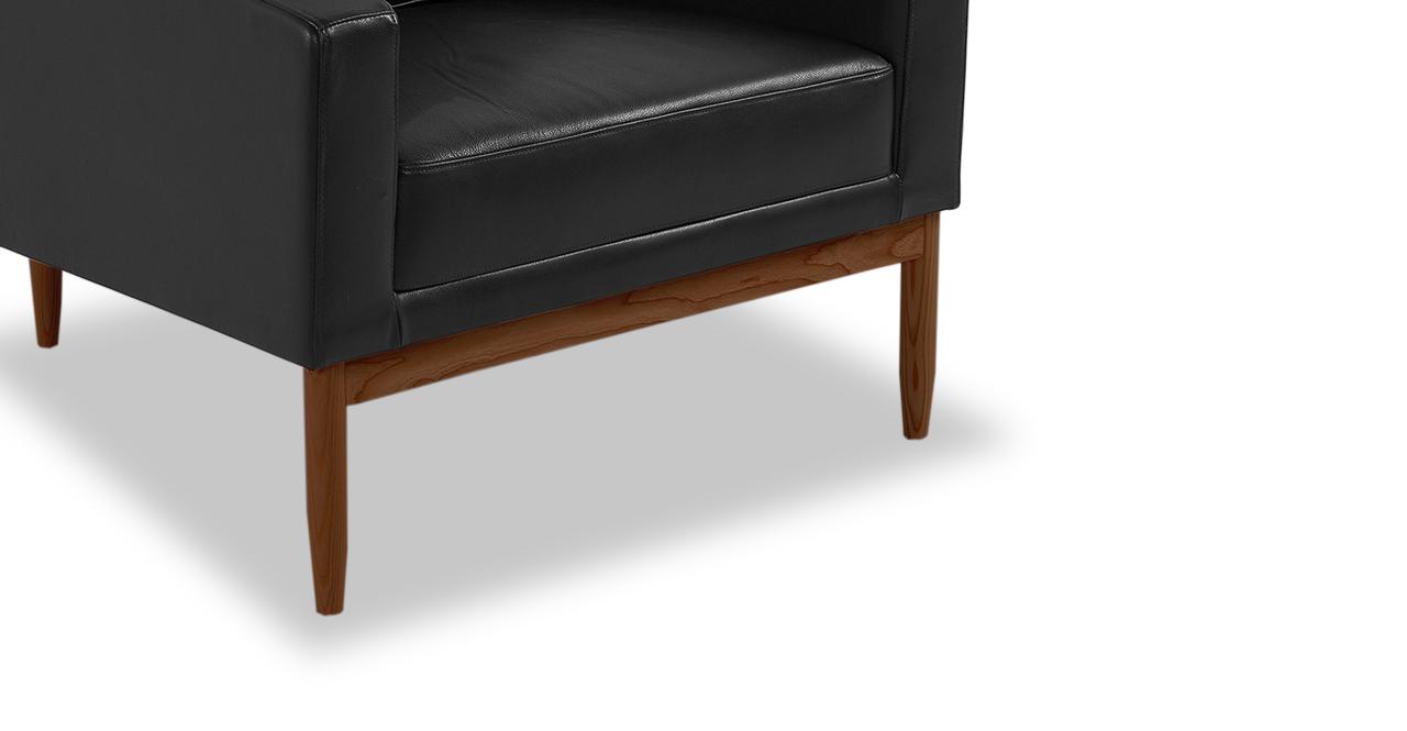 Stilt Danish Mod Chair, Black Aniline Leather/Walnut