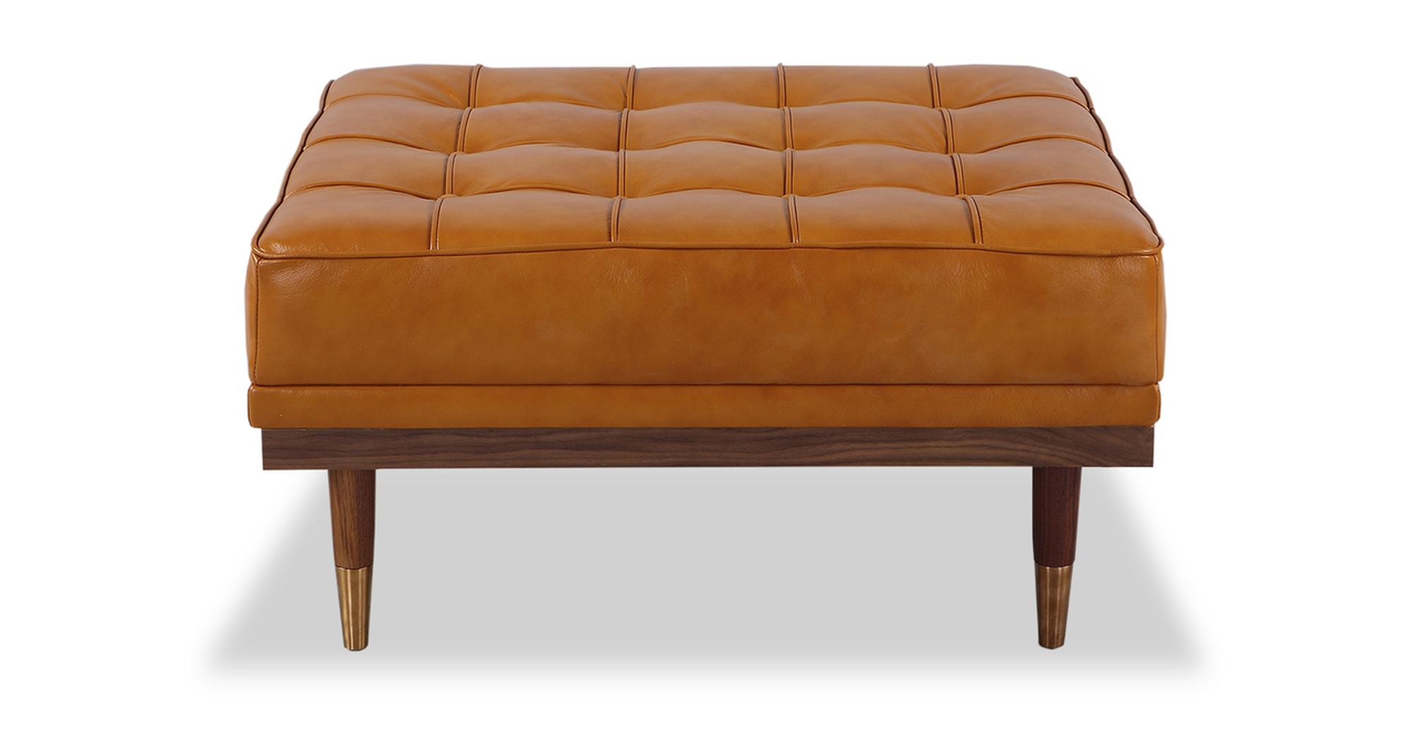"""Woodrow 33"""" Box Leather Ottoman, Walnut/Tan Aniline"""