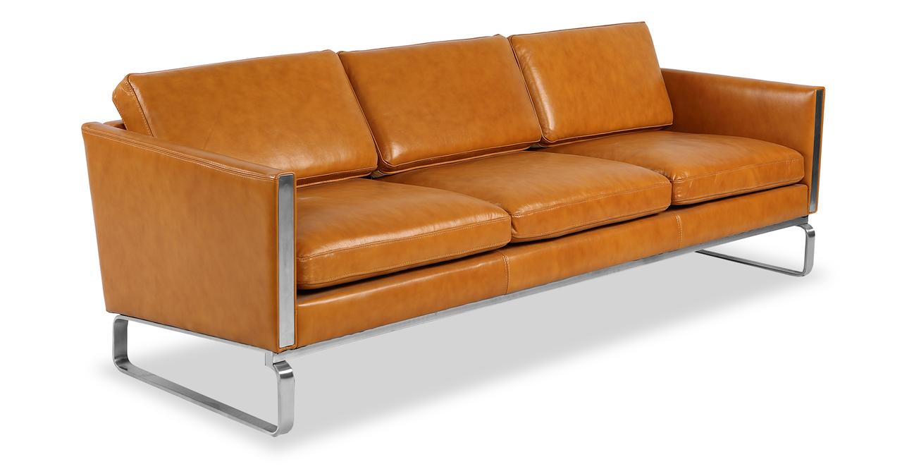 "Amsterdam 86"" Leather Sofa, Tan Aniline"