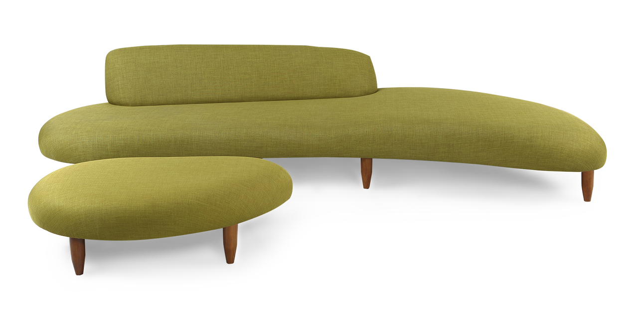 Kidney Bean Sofa & Ottoman, Atomic Moss
