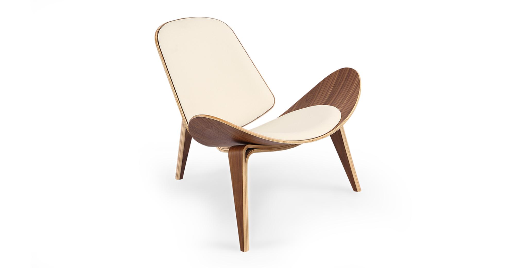 "Tripod 36"" Leather Chair, Walnut/Cream Italian"