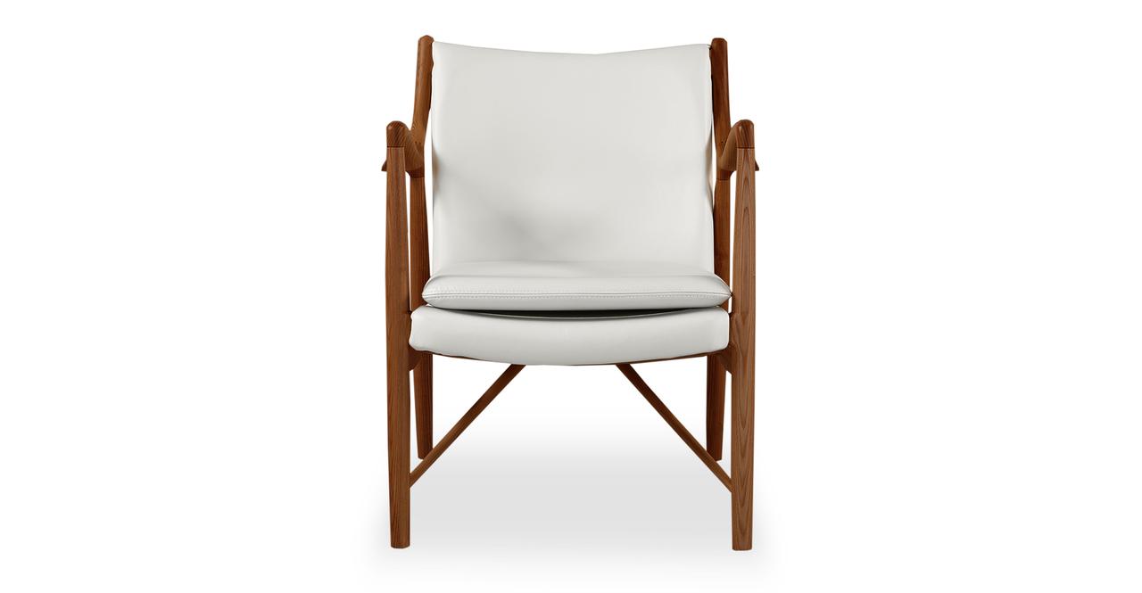 Copenhagen 45 Armchair, White Italian Leather/Walnut