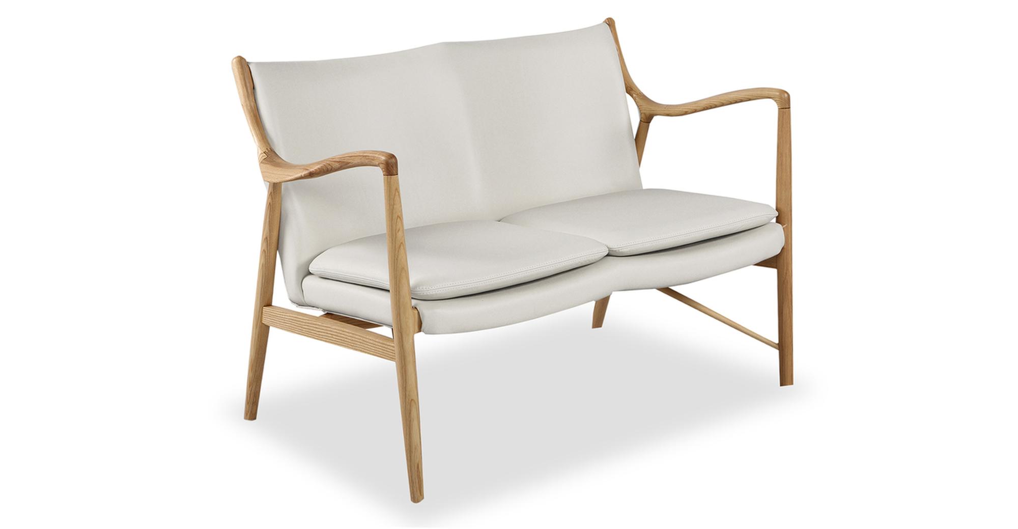 "Copenhagen 47"" Leather Sofa, Natural/White Italian"