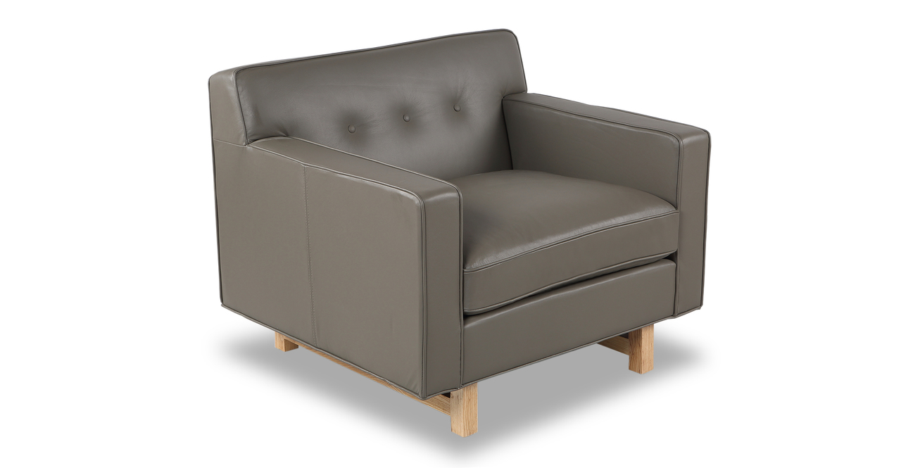 Kennedy Chair, Grey Aniline Leather