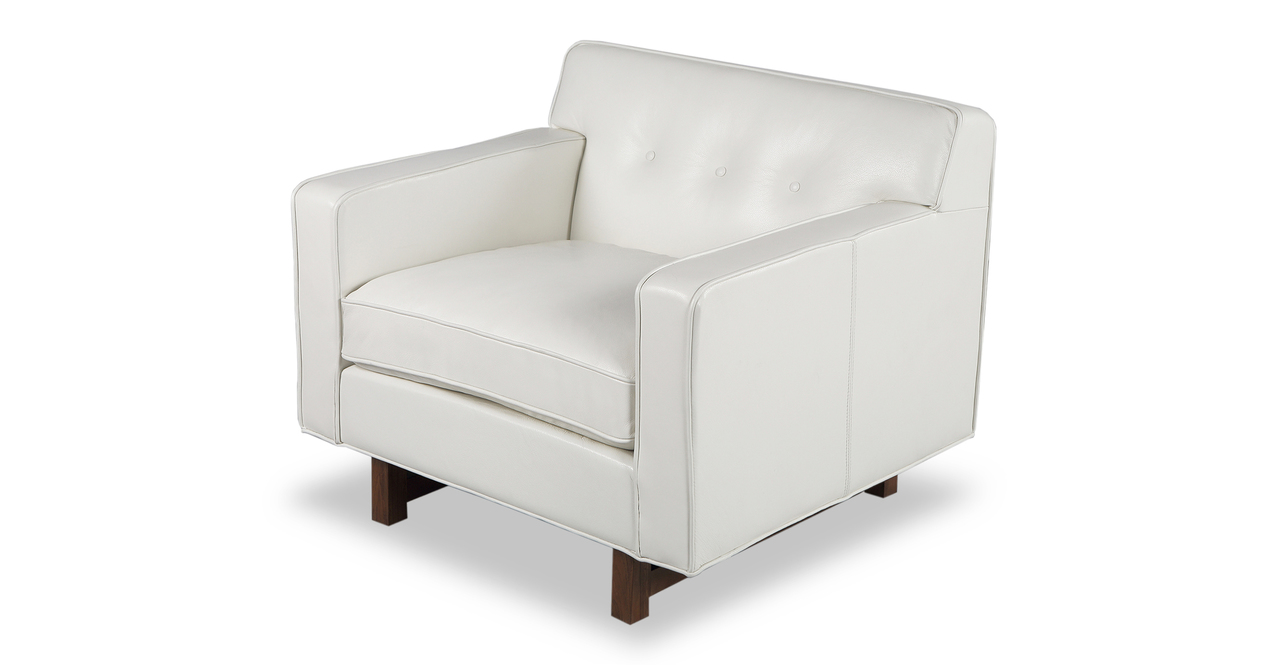 """Kennedy 35"""" Leather Chair, White Aniline"""