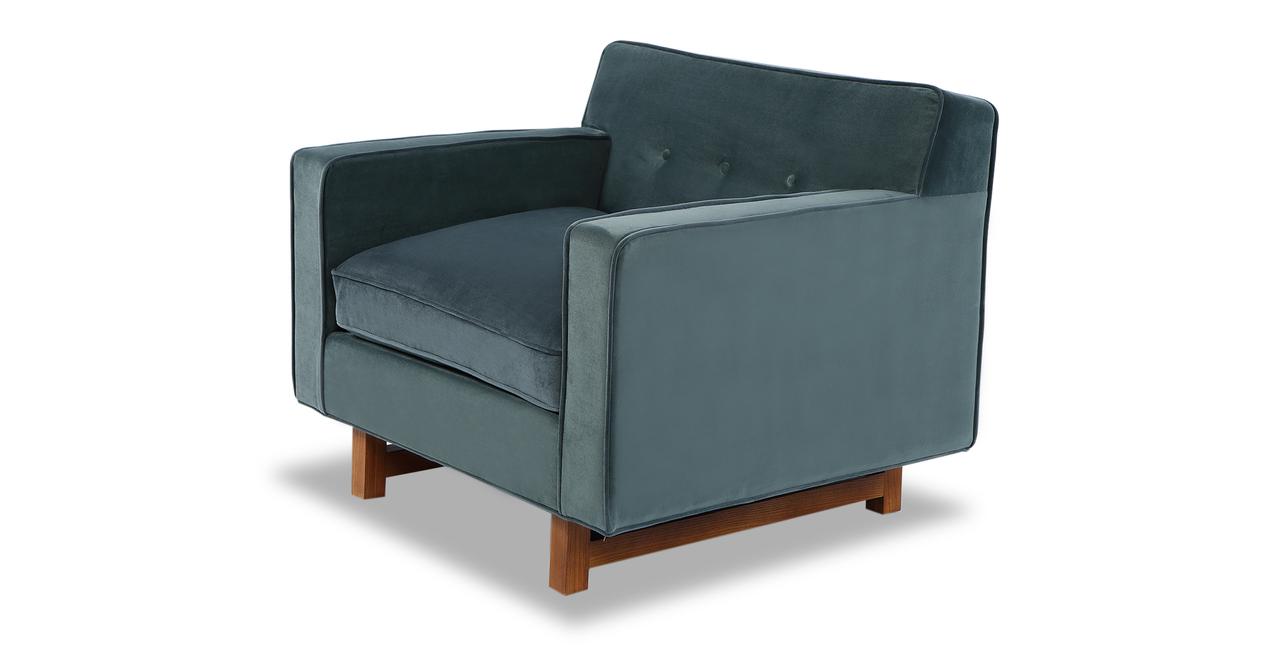 """Kennedy 35"""" Fabric Chair, Neptune Velvet"""