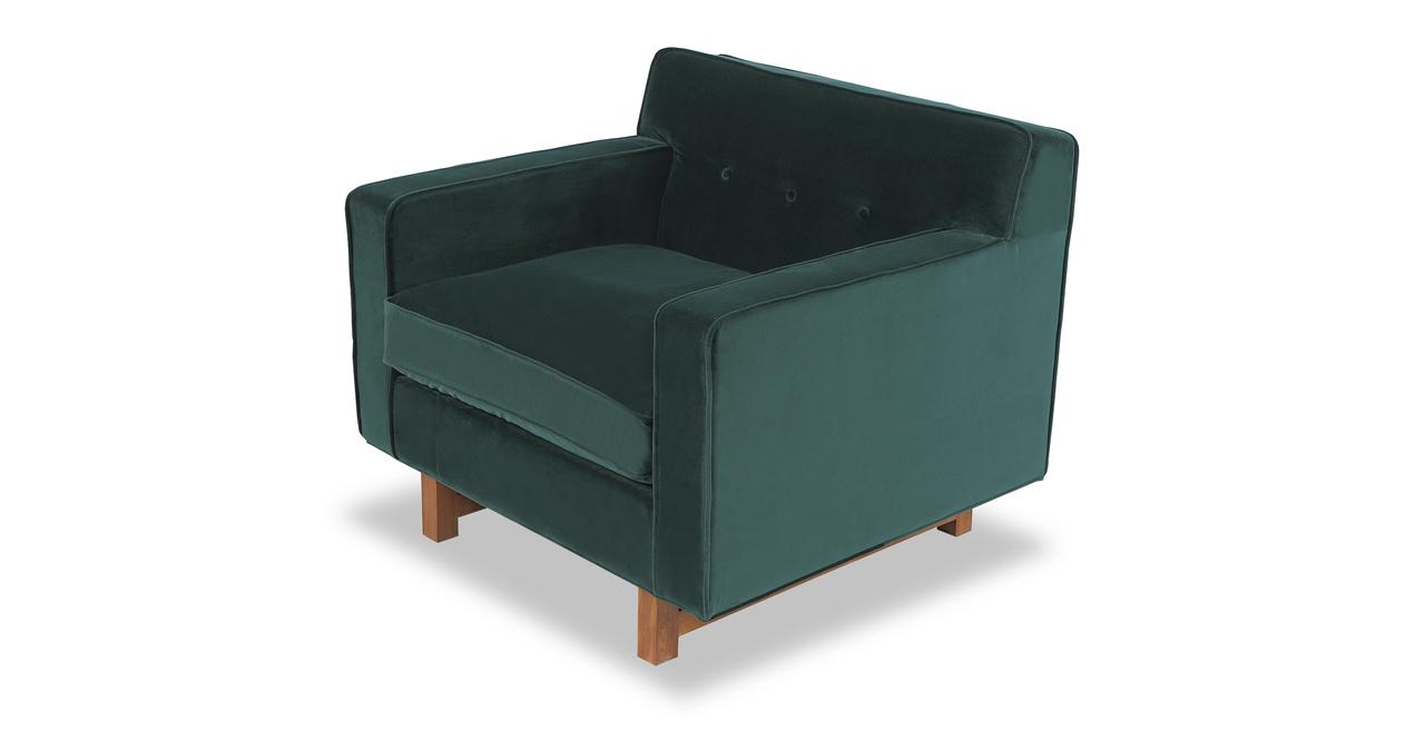"""Kennedy 35"""" Fabric Chair, Jade Velvet"""