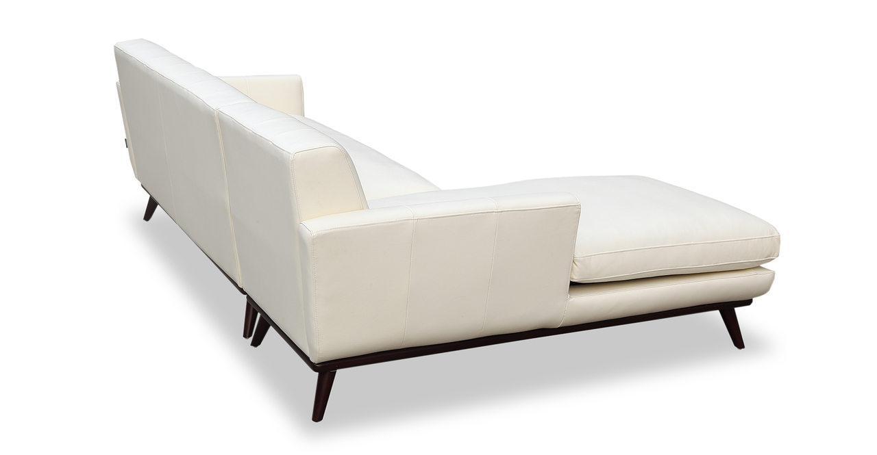 Jackie Sofa Sectional Left, White Aniline Leather
