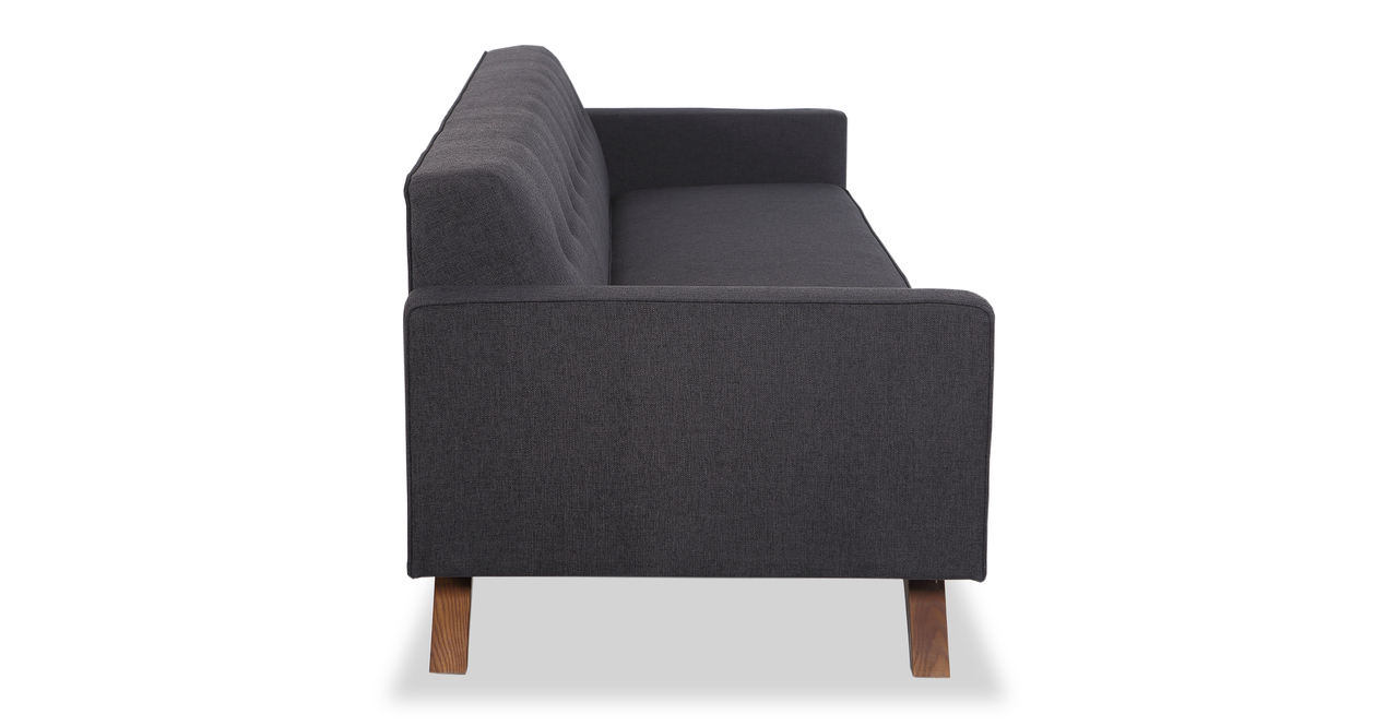 """Bauhaus  90"""" Modern Fabric Sofa, Urban Ink"""