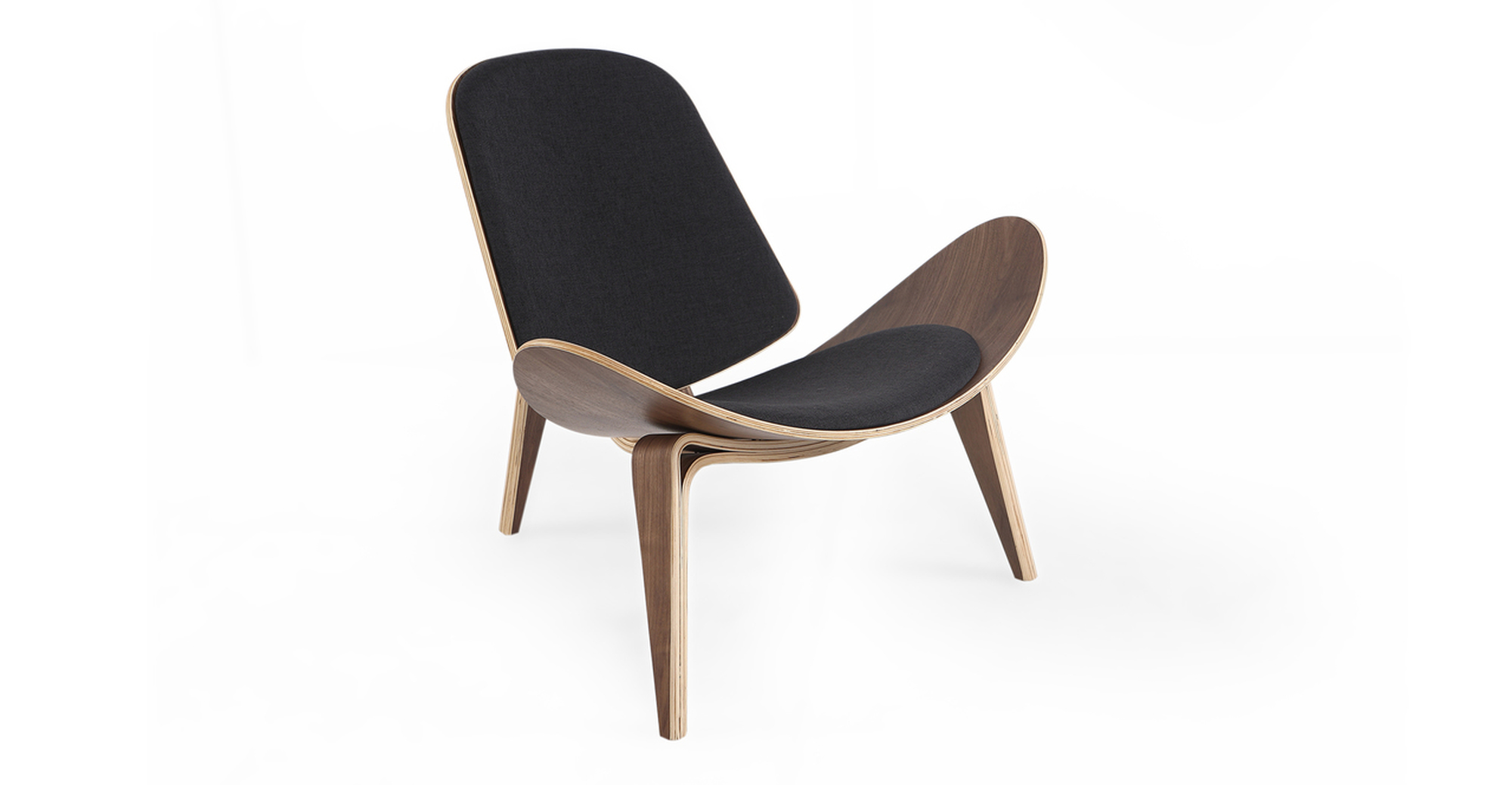 "Tripod 36"" Fabric Chair, Walnut/Urban Ink"