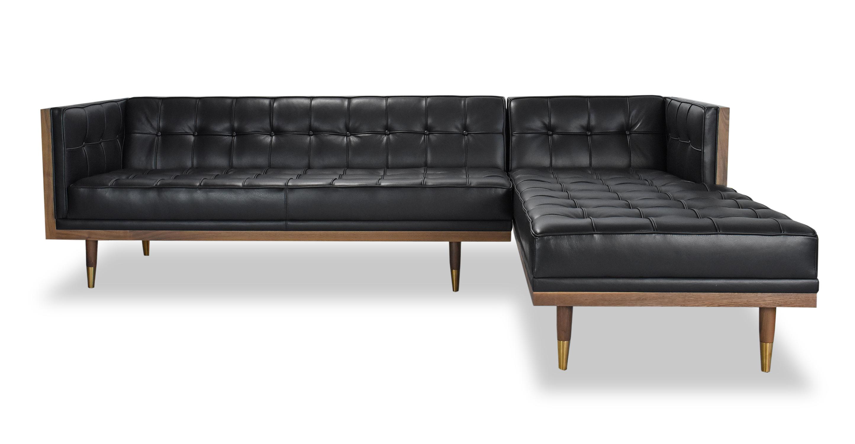 "Woodrow Box 100"" Leather Sofa Sectional Right, Walnut/Black Aniline"