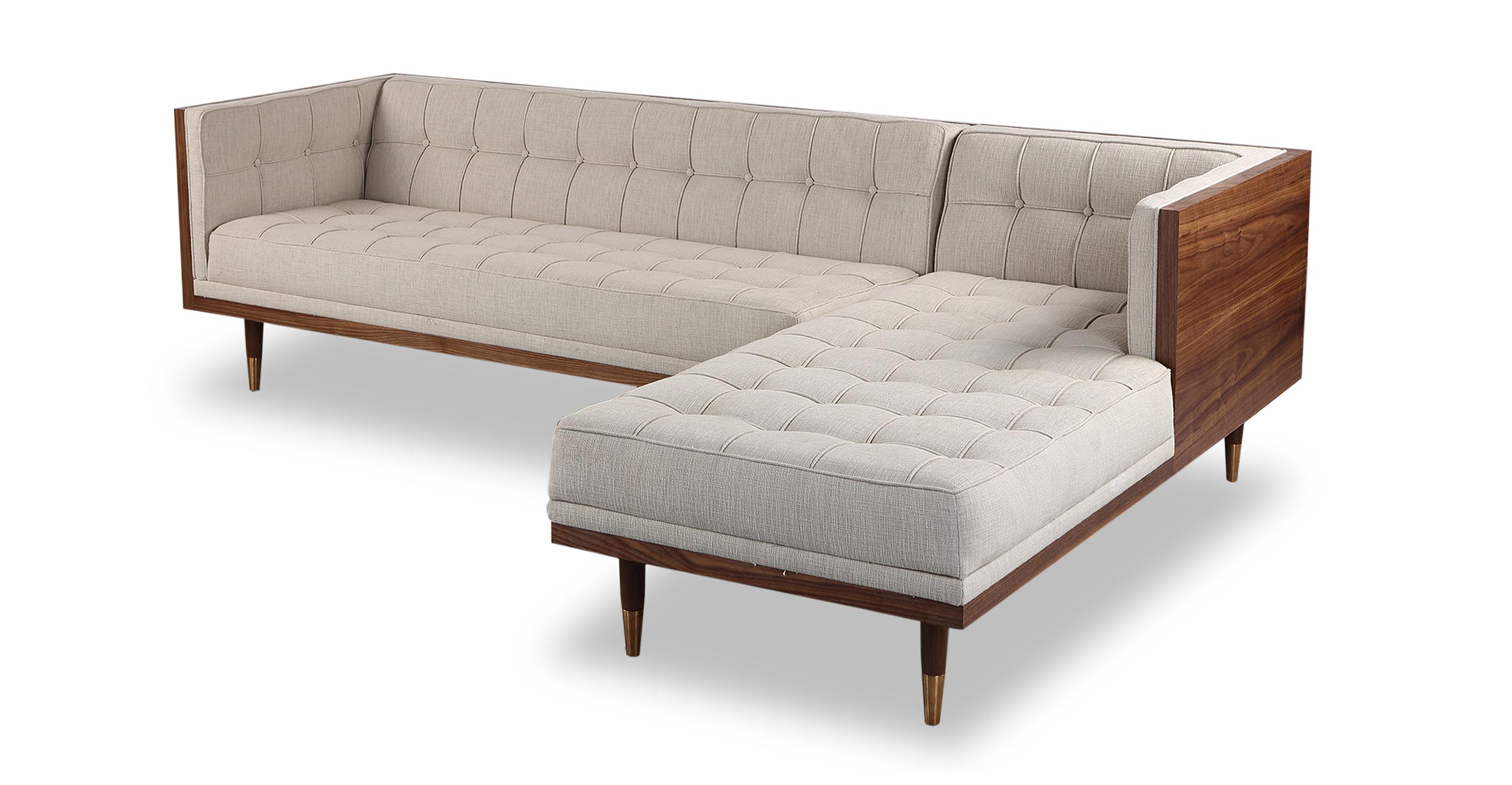 Woodrow Box 100 Fabric Sofa Sectional Right Walnut Urban Hemp Kardiel